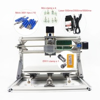 DIY Mini CNC 2418 PRO 500mw 2500mw 5500mw laser head engraving machine Pcb Milling router Wood Carving machine