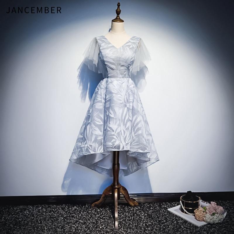 JANCEMBER 2019 Latest Light Luxury   Cocktail     Dresses   Lace Short Sleeve Backless Lace Up Back High Low V Neck Lace   cocktail   kleid