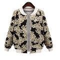 Women Basic Jackets 2016 New Brand Casual Jacket Womens Autumn Tops 5XL large sizes Long Sleeve Fashion Print Coat Female