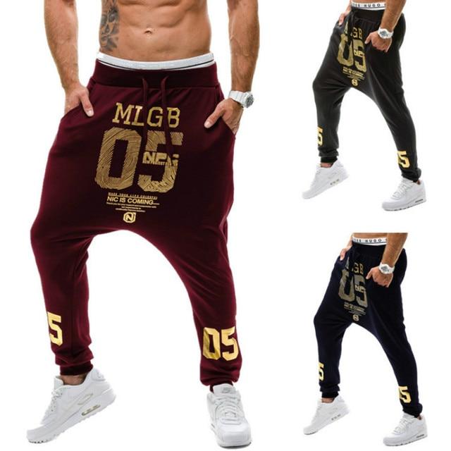 2016 Fashion Men Pants Hot Sale Gold Color Letter Printing Hip Hop Clothing Sweatpants Casual Trousers Slim Fit Homme Joggers