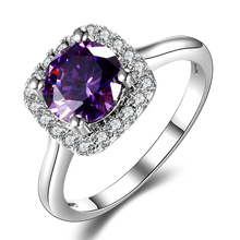 New Trendy 2018 Hot Sale Wedding Rings Natural Amethyst Ring For Women Fashion 925 Silver Jewelry With Gemstone Party Gift (China)