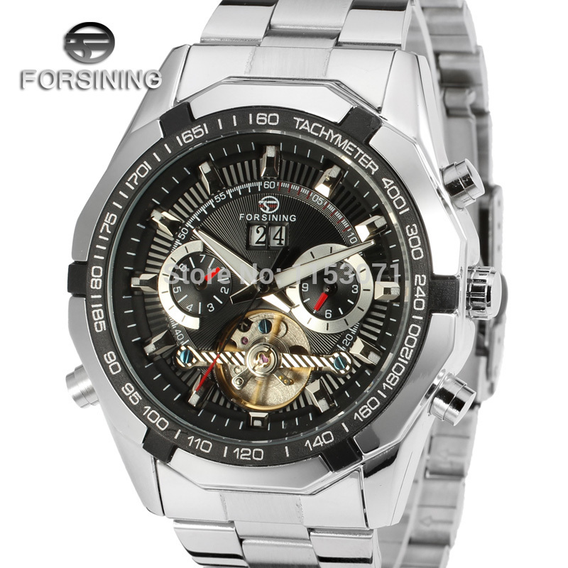 Forsining Men's Watch New High End Brand Luxury Automatic Stainless Steel Bracelet Vogue Wristwatch Color black FSG340M4T1-in Mechanical Watches from Watches    1