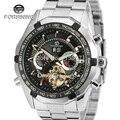 Forsining relógio dos homens novos da marca high end luxo automático em aço inoxidável pulseira de moda relógio de pulso cor preta fsg340m4t1
