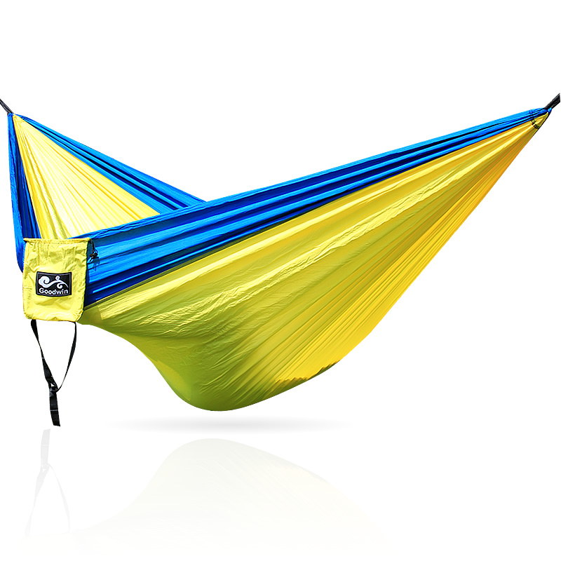 garden hammock swing hammock under parachute nylon fabric aotu at6716 parachute nylon fabric double hammock light blue