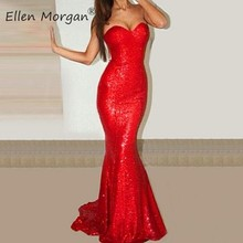 Red Sequined Mermaid Prom Dresses for Beauty Girls 2019 Sexy Sweetheart  Court Train Elastic Fabric Glittering 9c2dbf7ef60b