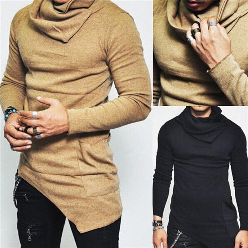 Fashion Unbalance Hem Pocket Long Sleeve Hoodies Mens Clothing 2018 Autumn Mens Turtleneck Sweatshirt Tops Plus Size 5XL 905818