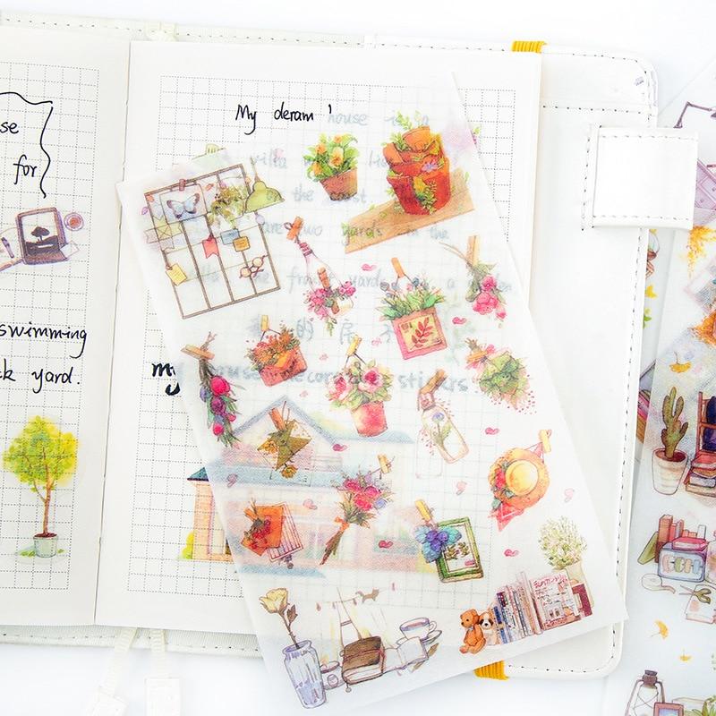 6 Sheets/lot Korean Cute Kawaii My House Plant Journal Decoration Pvc Scrapbooking Sticker Stationery School Supplies