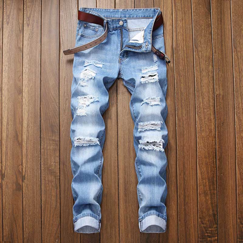 Mcikkny Men\`s Ripped Distressed Jeans Pants Washed Fashion Pleated Casual Denim Trousers Male Streetwear (11)