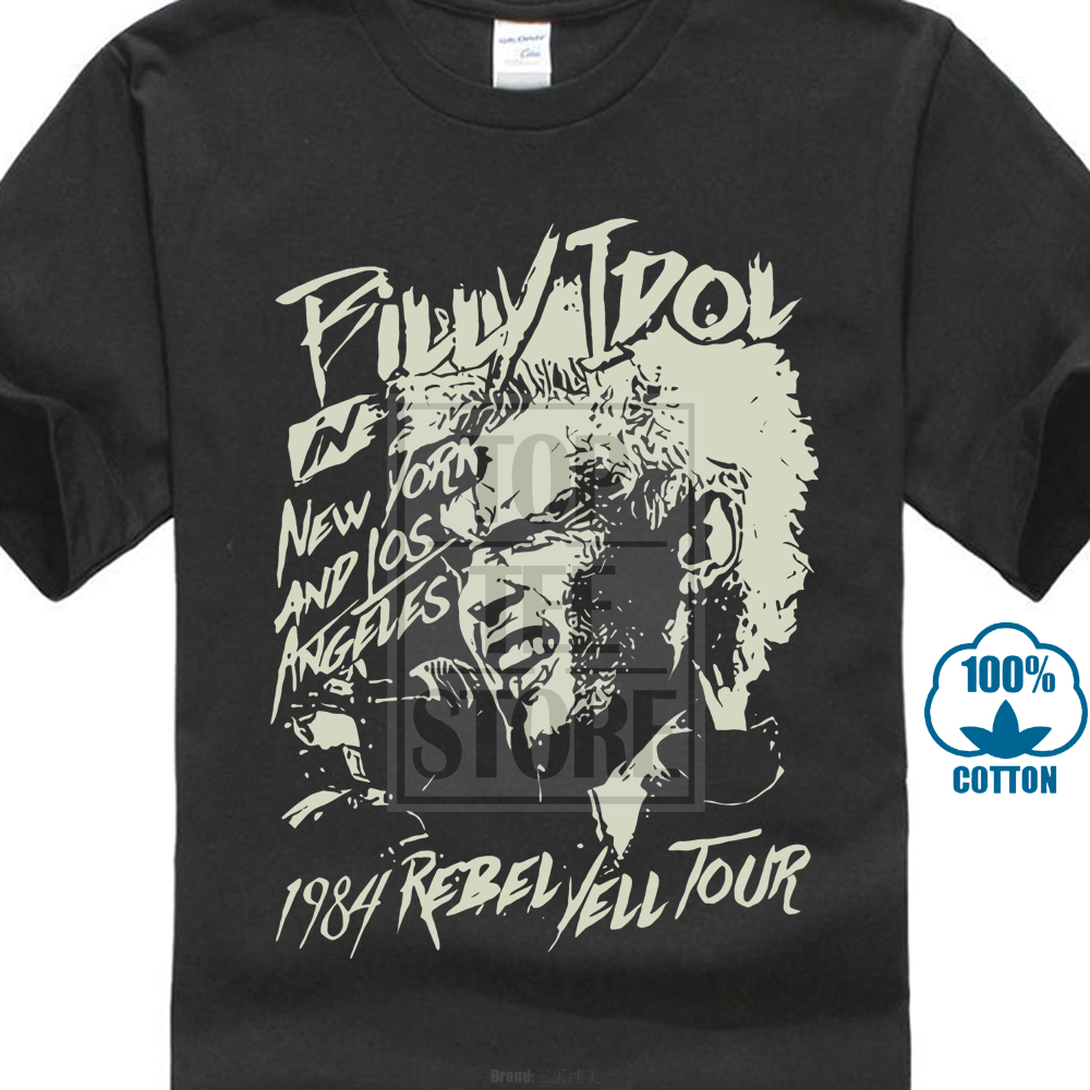 Billy Idol New York And Los Angeles 1984 Adult   T     Shirt   Punk Rock Music