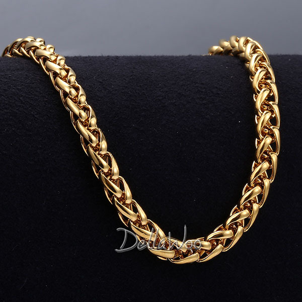 22f275a839344 Mens Womens Necklace 3/4/5MM Wheat Chain Gold Filled Necklace GF ...