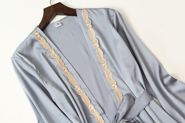 Queenral 4PCS Sexy Silk Pajamas Set For Women Satin Sexy Sleepwear Set Women Pajamas Set Mujer Invierno Home Clothes For Women  7