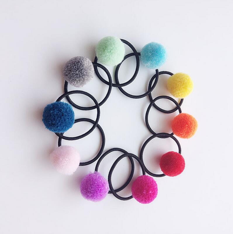 1pair rainbow pompom Ball Kids Elastic Hair band Elastic Hair Tie gum toddlers hair ring rope Children Rubber Band headwear Q12 freeshipping skiip28anb16v1 skiip 28anb16v1 components