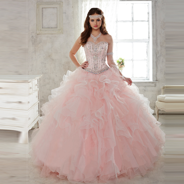 57ad4e8cd0f Hot Selling Pink Ball Gown Quinceanera Dresses with Detachable Skirt 2  Piece Lace Up Prom Party