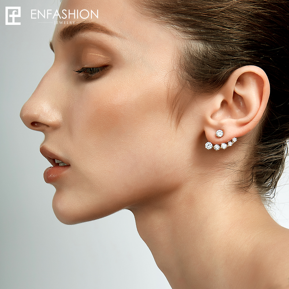 Enfashion Crystal Earrings Ear Jacket Rose Gold Color Earings Stainless Steel Earring Stud Earrings For Women Jewelry Wholesale