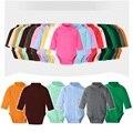 Красочная одежда для малышей 100% хлопок чистый однотонный унисекс боди для новорожденных Высокий воротник теплая одежда для преждевременны...