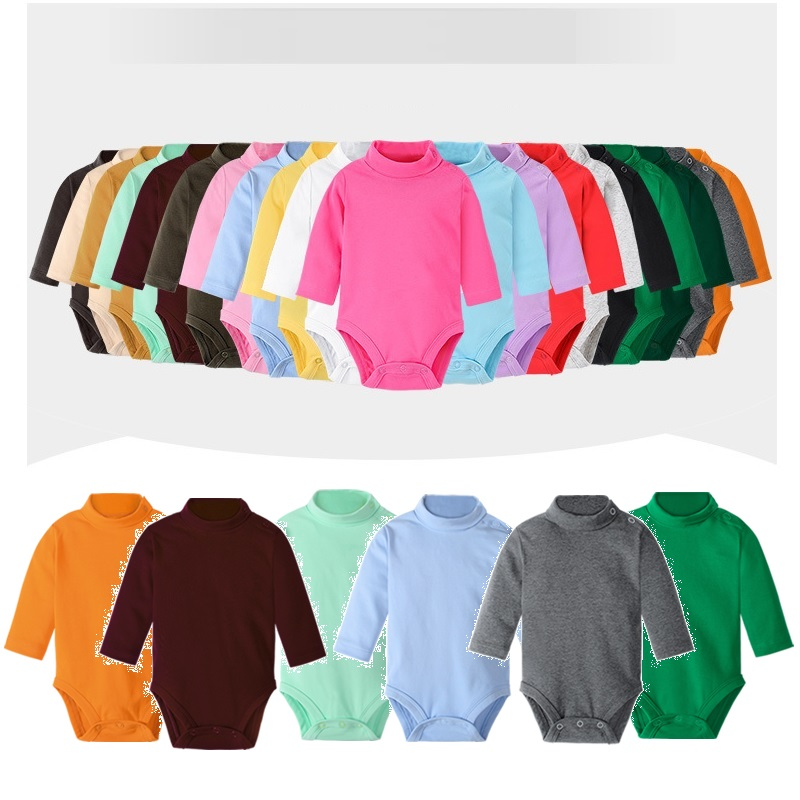 Colorful Baby Clothes 100% Cotton Pure Solid Unisex Newborn Bodysuits High Collar Warmer Premature Clothing Boys Shirts Girl Top