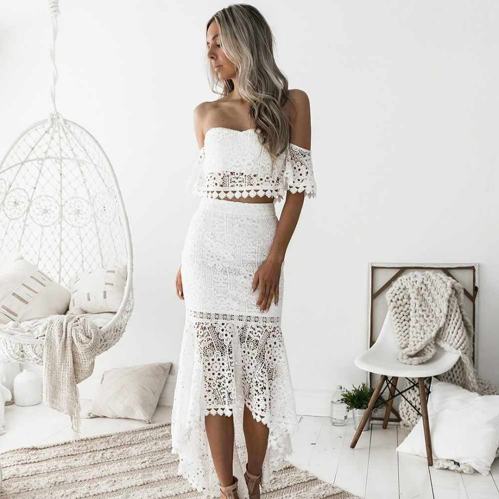 2018 Women White Lace Dress 2 Pcs Set Sexy Slash Neck Backless Pencil Dress  Spring Dresses 06ec0bd2702c