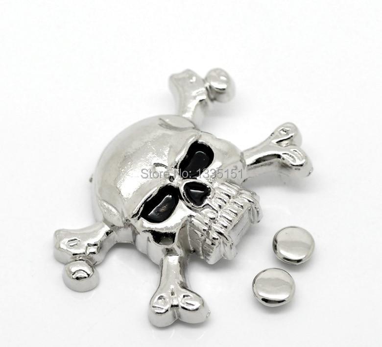 Free shipping -10 Sets Antique Silver Skull Crossbone Rivet Studs Spots 4.4cmx2.9cm 7mm Bag Leather Clothes J1785