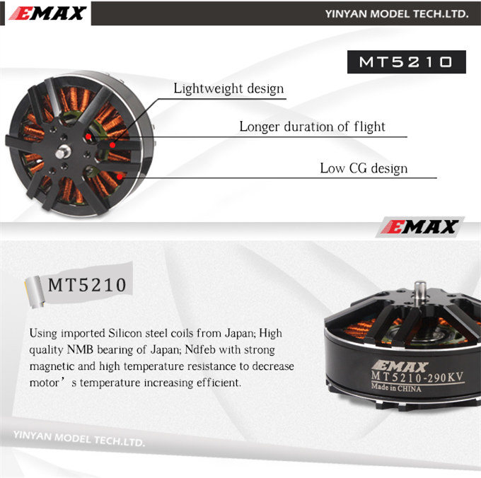все цены на  100% Original EMAX MT5210 160KV / 290KV motor CW / CCW 6-8S for DIY FPV large drone Agriculture UAV  онлайн