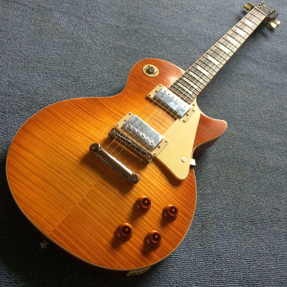 Nueva llegada LP estándar 1959 R9 guitarra eléctrica, tune-o-matic puente una pieza de cuello y cuerpo, Fret borde vinculante, envío libre