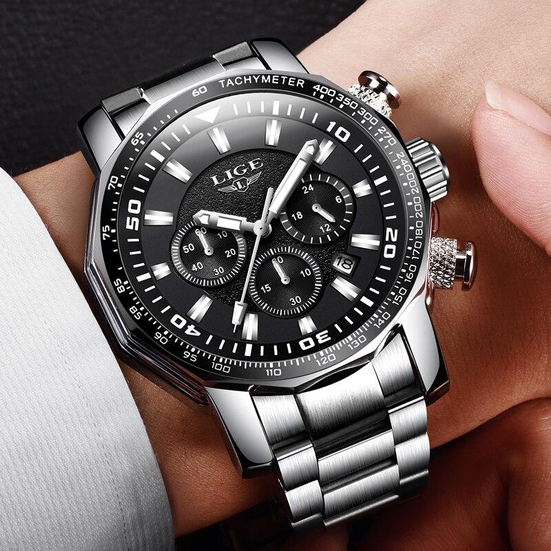 2018 LIGE hommes montres Top marque de luxe mode Quartz horloge hommes en acier complet étanche Sport militaire montre Relogio Masculino