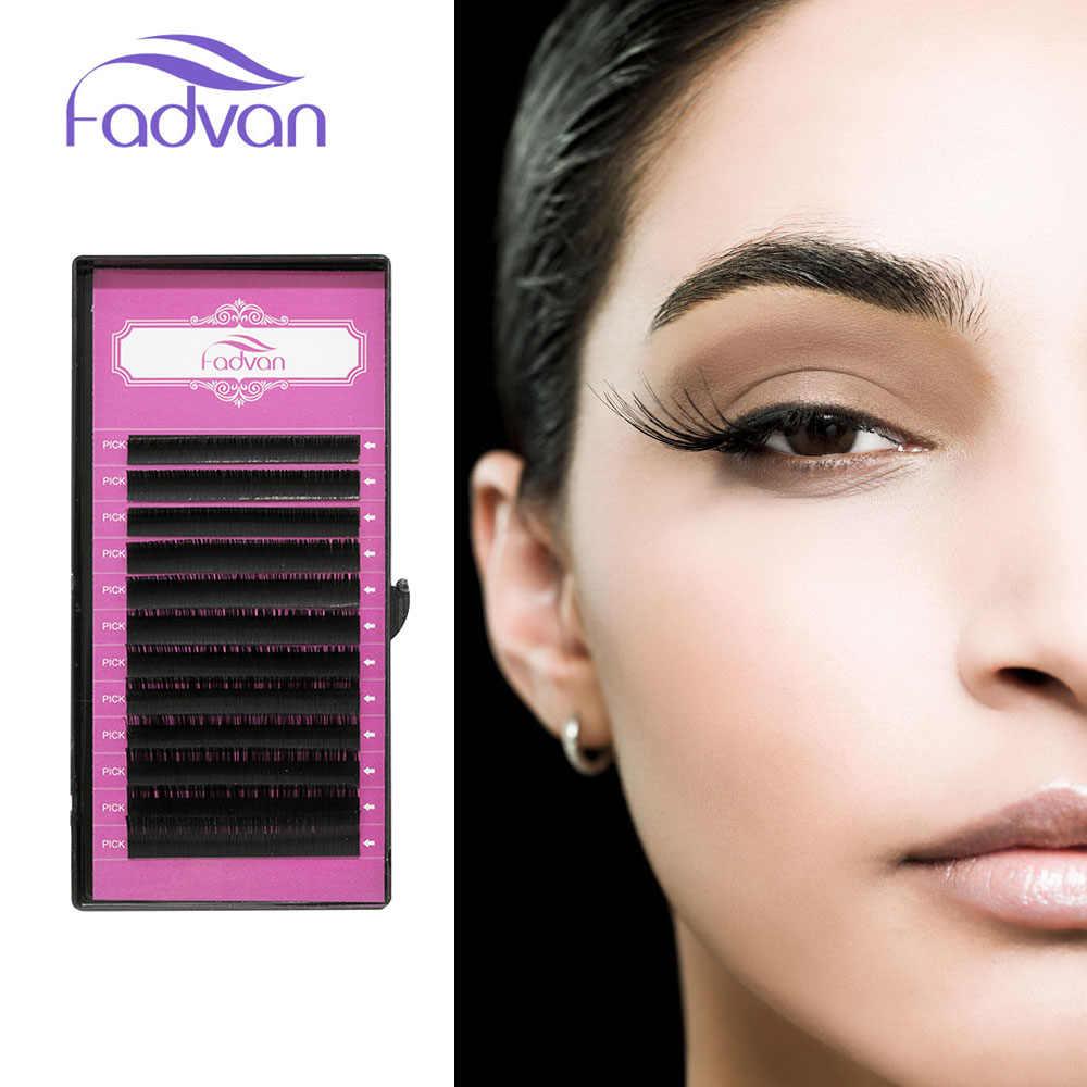 184d747fbff Fadvan Premium Silk Eyelash Extensions Individual False Mink Lashes J/B/C/D