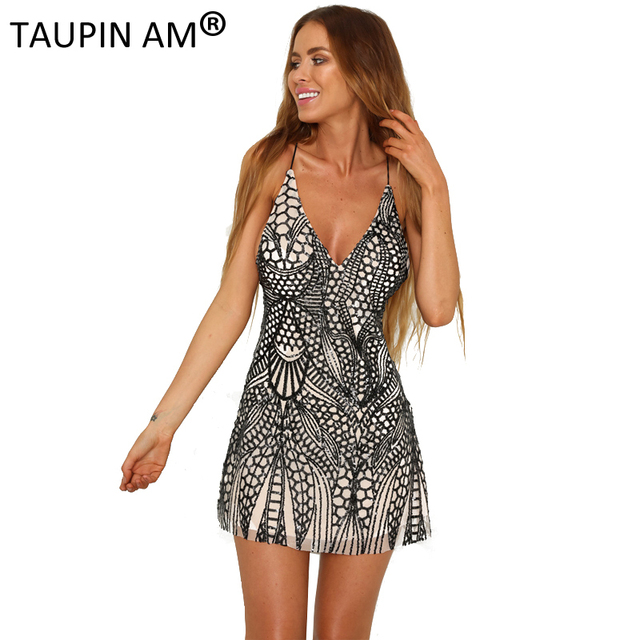 Taupin Am Y Halter Sequin Dresses Luxury Party Deep V Neck Sleeveless Short Dress Black