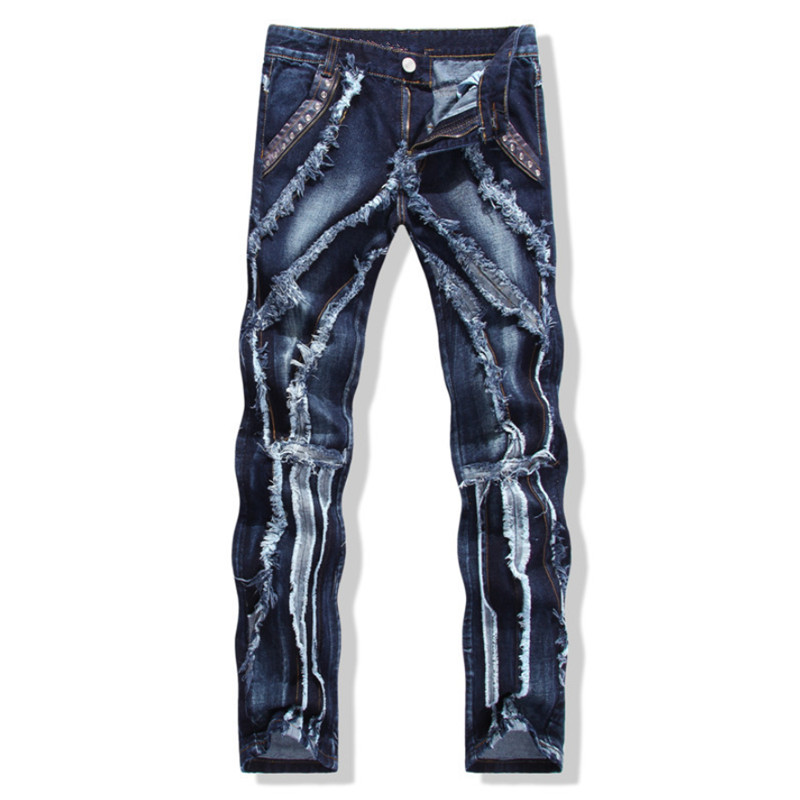 European American Style NEW Men's jeans slim denim trousers biker men jeans luxury ripped Straight blue punk slim jeans for men 2017 fashion patch jeans men slim straight denim jeans ripped trousers new famous brand biker jeans logo mens zipper jeans 604