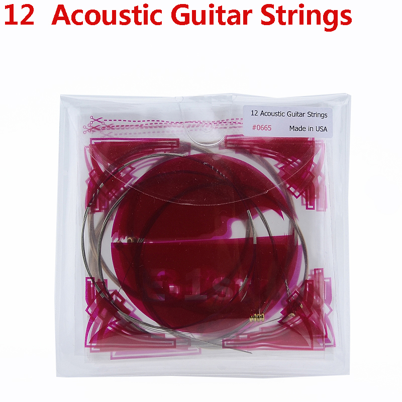 1 Set (12 Pieces) GuitarFamily Coated Phosphor Bronze 12 Strings Folk Acoustic Guitar Strings MADE IN USA
