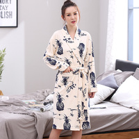 New 100%Cotton Floral Long Sleeve Women Robes Nightgowns V neck Cardigan Elegant High Quality Plus Size L XXXL Female Bathrobe