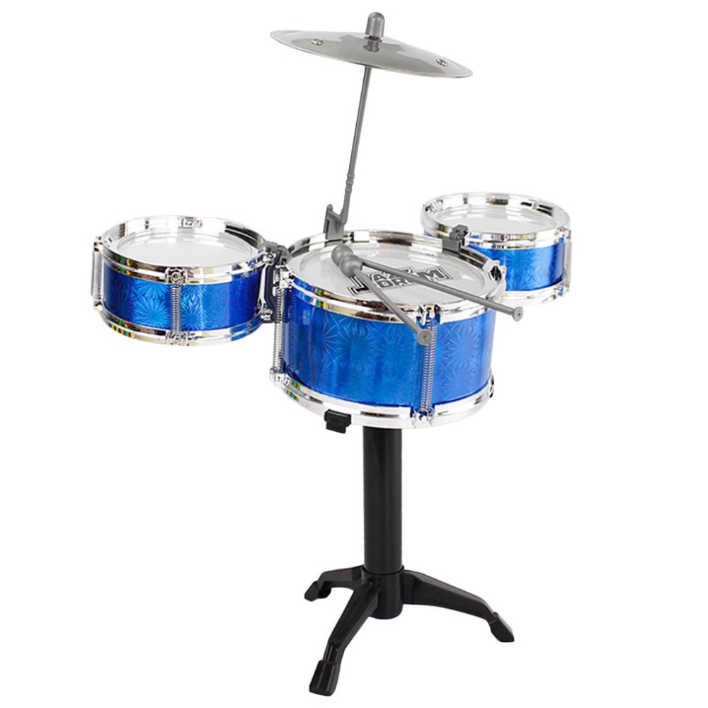 children jazz drum set kids 3 drums 1 cymbal with small stool drum sticks for kids musical. Black Bedroom Furniture Sets. Home Design Ideas
