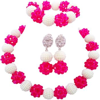 Fashion Hot Pink White Nigerian Party Plastic Pearl Balls Necklace Sets 1C-SJZZ-29