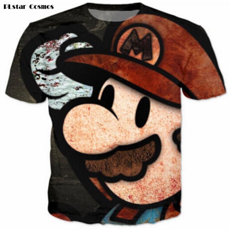 PLstar Cosmos Vintage Super Mario T-Shirts Tees Women Men Cute Cartoon 3D t shirt Funny t shirts Summer Casual tee plus size 3XL