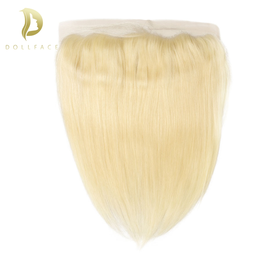 613 Blonde lace frontal short long Brazilian Straight remy hair extensions color pieces vendors Dollface image