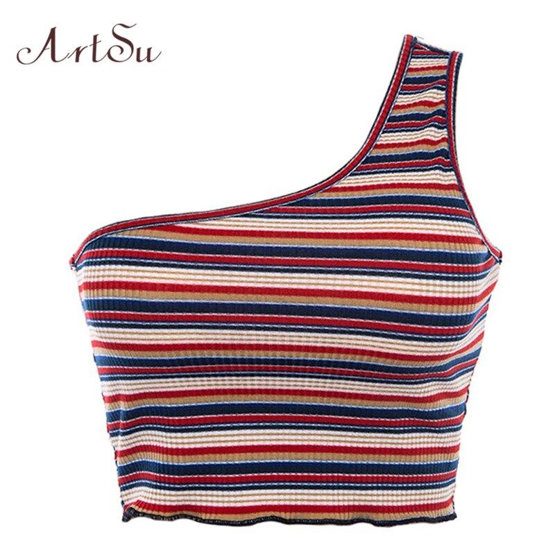 ArtSu Striped Tee Shirt One Shoulder   Top   Off Shoulder Crop   Top   Streetwear Casual   Tank     Top   Women Fashion Short   Top   Cami ASVE20294
