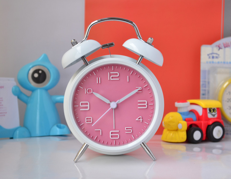 new arrived 6 color double bell quartz alarm clock by chime with night light delicate home decoration christmas gift for kids - Mm Christmas Lights