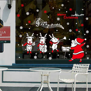 Image 5 - 2019 Cartoon Santa Claus Wand Aufkleber Wand Kunst Abnehmbare Hause Aufkleber Party Decor Frohe Weihnachten Fenster Film Aufkleber