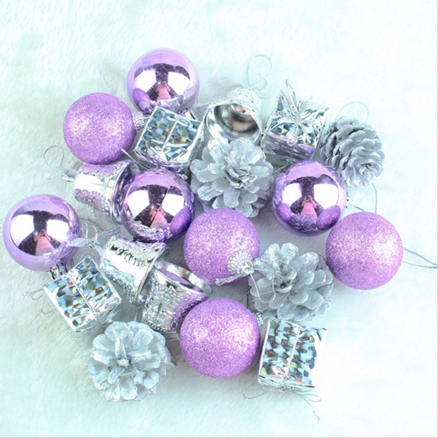 christmas tree decorations 20pcsset purple a lot of christmas pendant ornaments hang decoration new - Purple And Silver Christmas Tree Decorations