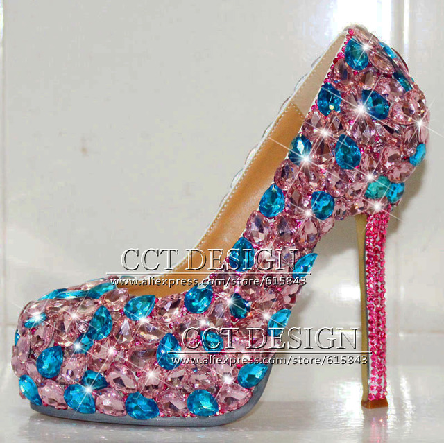 Free Shipping Sparkly Luxury Crystal Womens High Heels Formal Diamond Pumps Pink Blue Rhinestone Wedding Shoes