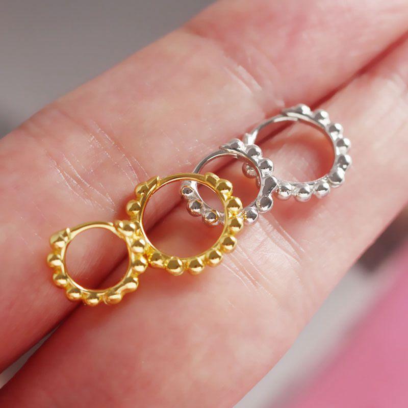 Silvology 925 Sterling Silver Round Bead Hoop Earrings Simple Wild Elegant Geometric Earrings For Women 2019 Summer Jewelry Gift