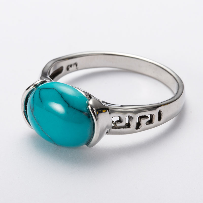 Top Brand Vintage Natural Stone Jewelry Ring Blue Red Green Antique TurquoiseStone Rings