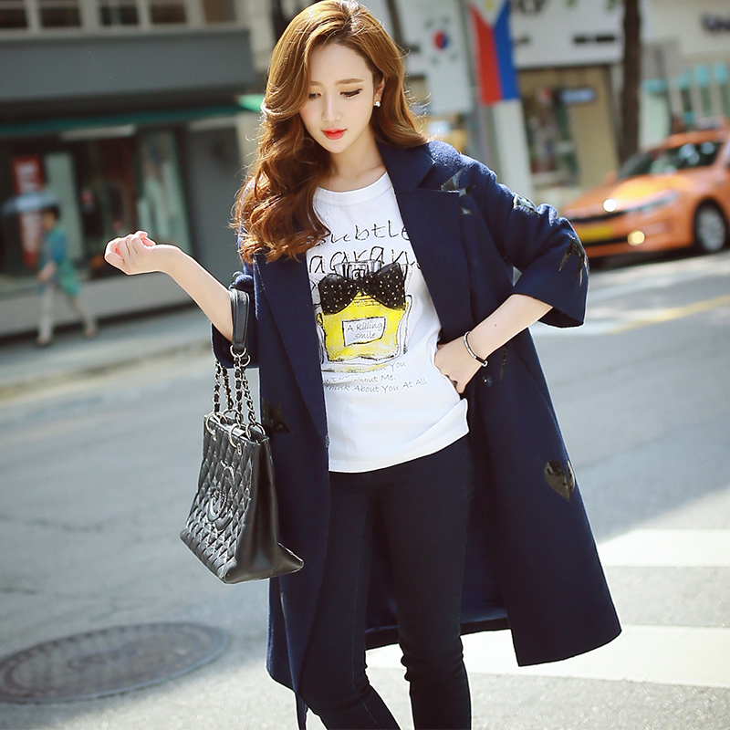 DABUWAWA Original 2017 Brand Women's Jacket Autumn Winter Slim Fashion Casual Elegant Navy Blue Long Coat Women