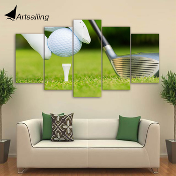HD printed 5 piece canvas art golf ready for kickoff painting wall pictures for living room modern free shipping CU-2027A image