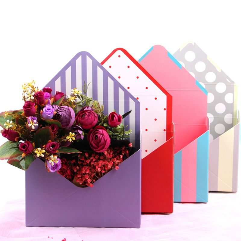 Envelope Fold Flower Storage Box Wedding Engagement Party Decor Polka Dot Stripes Printed Paperboard Packaging Wrapping Gift
