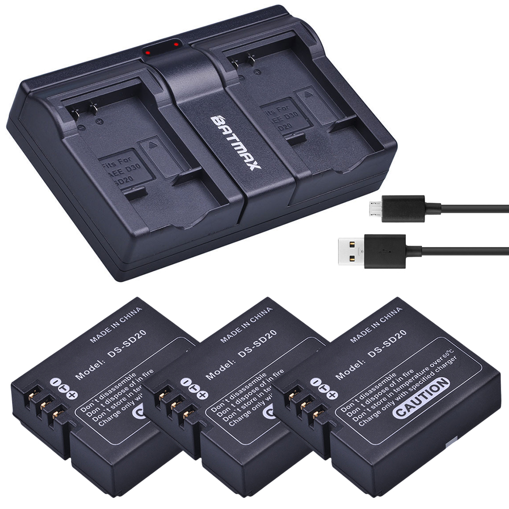 3Pcs DS SD20 SD20 DS SD20 Batteries USB Dual Charger for Rollei 3S 4S 5S ActionPro