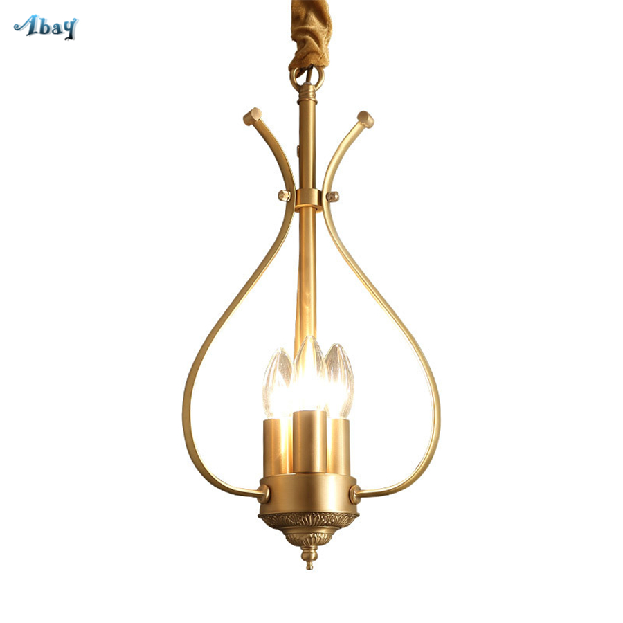 European copper Candlestick luxury pendant lights hotel living room light fixtures dining room led hanging gold lamp home decor