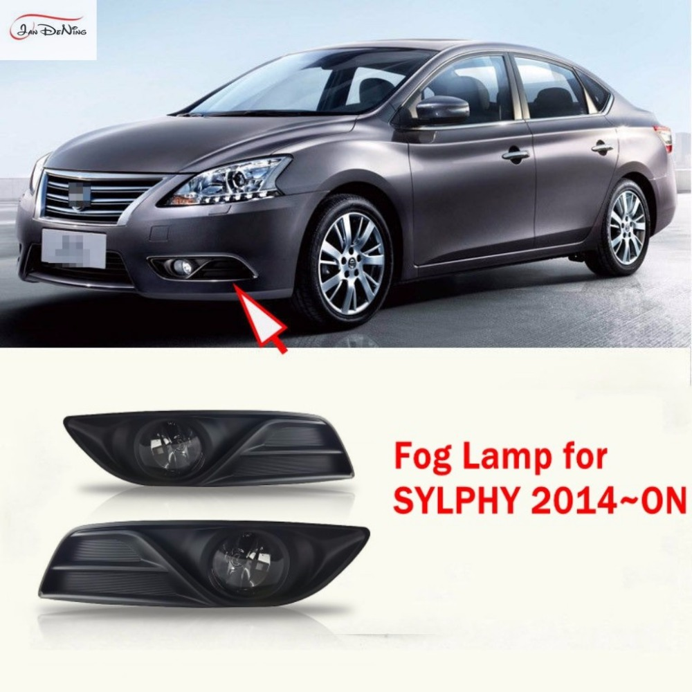 JanDeNing Car Fog Lights For Nissan SYLPHY 2014~ON Front Fog Lamp Light Cover Trim Replace Assembly kit (one Pair) car fog lights lamp for mitsubishi triton 2 door 2009 on clear lens pair set wiring kit fog light set free shipping