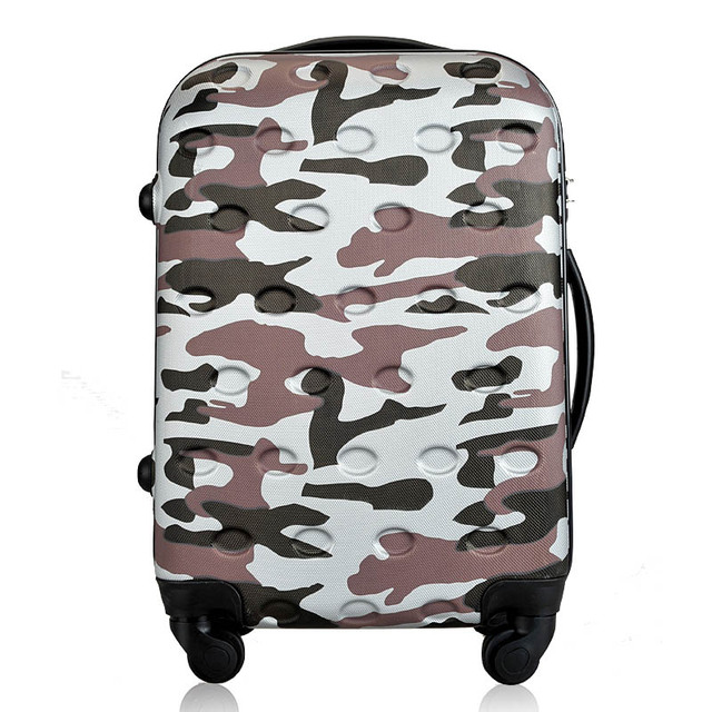 2018 new style Women Men Luggage Hard Shell army camouflage Rolling Luggage 5e24e9a024