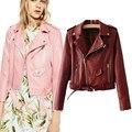 TIC-TEC mujeres Cuero de LA PU de Gamuza de color caramelo moda casual locomotora capa de la chaqueta jaqueta de couro P2726