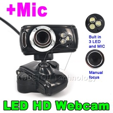 3 Led USB 2.0 50.0M HD Webcam Camera Web Cam Digital Video Webcamera with Microphone MIC for Computer PC Laptop